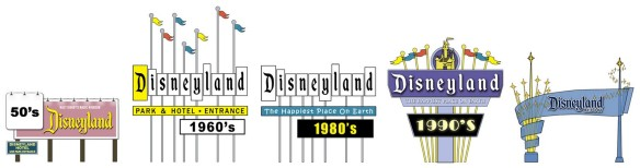 The DIsneyland sign over the years